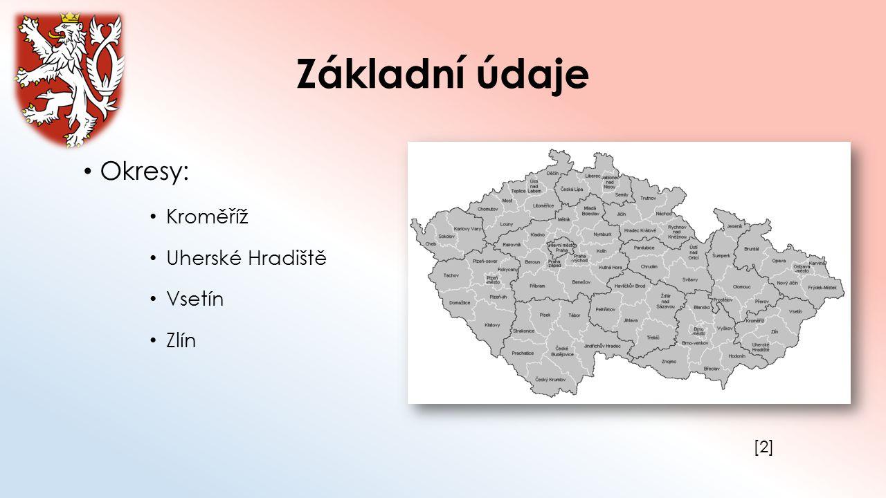 Základní údaje Okresy: Kroměříž Uherské Hradiště Vsetín Zlín [2]